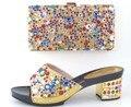 Nueva Moda Color Oro Africanas Zapatos y Bolsos A Juego Set Zapatos y Bolso A Juego De Diseño italiano para La Boda Partido de Las Mujeres vestido