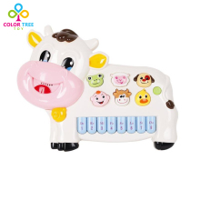 Baby Electronic Cartoon Cow Piano Educational Musical Toys with Lights Musical Instruments For Children