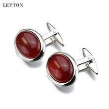 Hot Luxury Red Agate Cufflinks for Mens Shirt Cuffs Cufflink High Quality ellipse Stone Cuff links Lepton Brand Jewelry Design
