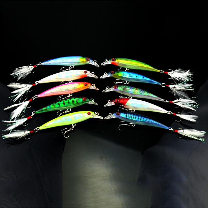 10 pcs Fishing Lure Minnow Wobblers Hard Bait with Feather Hooks Fishing Tackle Isca Artificial Bait Crankbait fishing lure blank crankbait unpainted hard bait 4cm 4 2g fishing tackle upc703p10