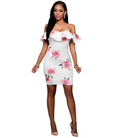 Europe and the United States women's new printing short sleeve dress sexy summer dew shoulder bag hip dress a nightclub