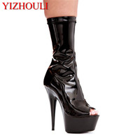 Newest Sexy Cool 15cm Ultra Thick High Heels Classic Short Boots Fashion Pu Leather Peep Toe