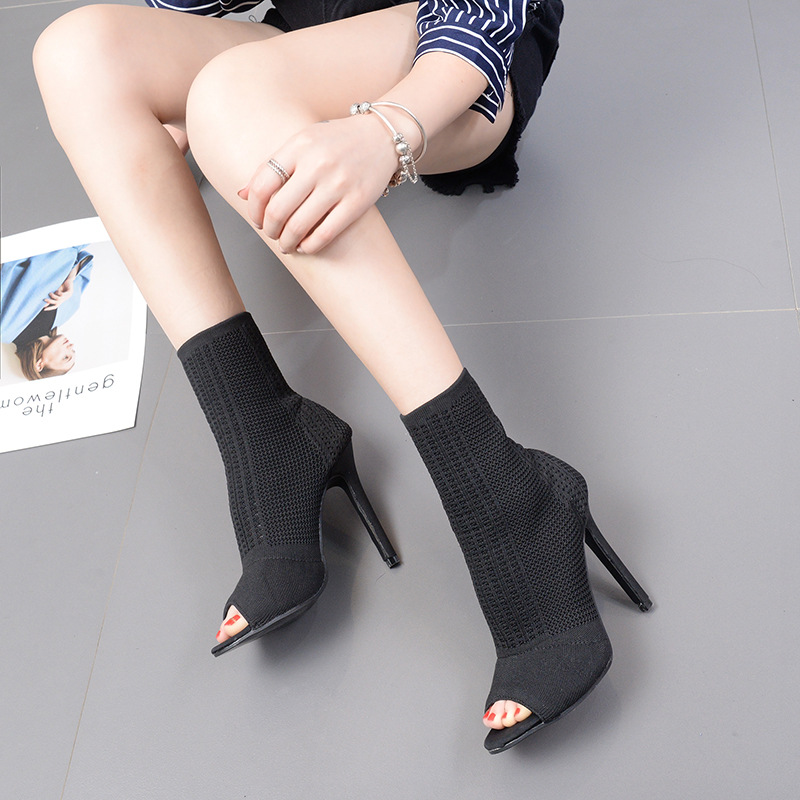 12cm fish mouth fine with sexy stretch cloth female boots hollow yarn knitted socks boots Martin boots