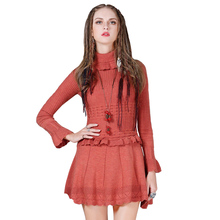 KEER Retro Sweater Dress Women Crochet Turtleneck Dress 2018 Long Sleeve Tunic Winter Dress Knitted Casual Vestidos Clothes