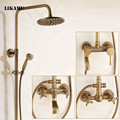 8 Inch antique brass shower faucet  wall mounted bronze brass bathroom rain shower set classic shower cold hot water mixer
