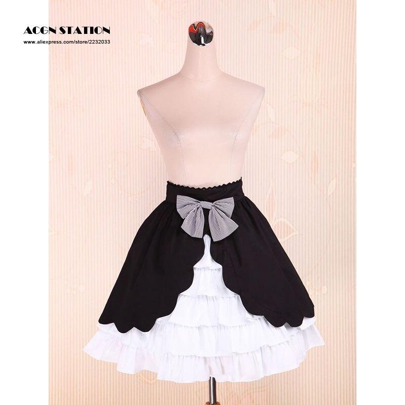 2016 nouveau coton noir et blanc Lolita jupe multi-couche doux arc