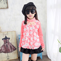Girls Spring Autumn Clothing New Children Long Sleeved Chiffon Cotton Blouse Floral T-shirt Kids Clothing Thick Thin 3 Colour