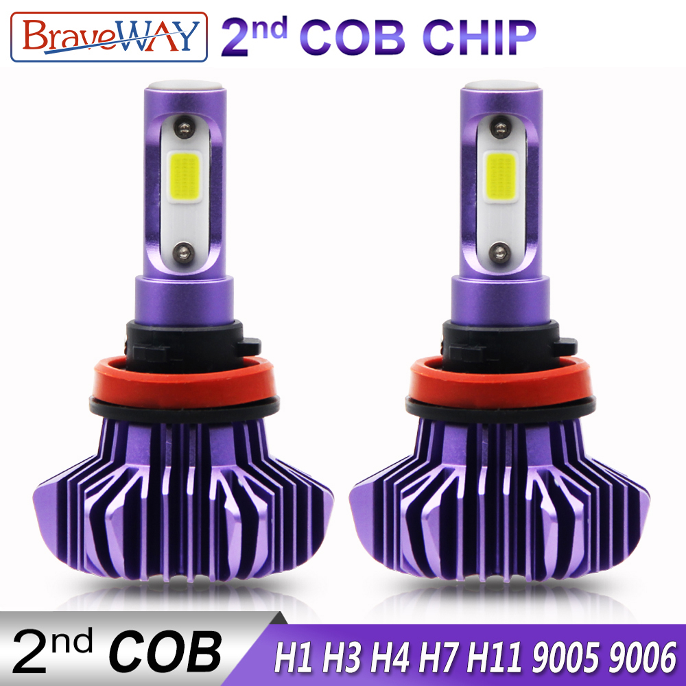 BraveWay 12000LM 2nd COB Led Lamp H4 H7 H1 H11 HB3 HB4 9005 9006 Led Headlight Car Led Bulb H4 Headlight for Cars Auto Led Light
