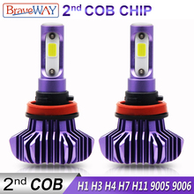 BraveWay 12000LM 2nd COB Led Lamp H4 H7 H1 H11 HB3 HB4 9005 9006 Led Headlight Car Led Bulb H4 Headlight for Cars Auto Led Light braveway h1 led headlight for car h7 led bulb h11 lights for auto 9005 9006 hb3 bh4 lamp h4 12000lm 6500k 80w 12v 24v car light