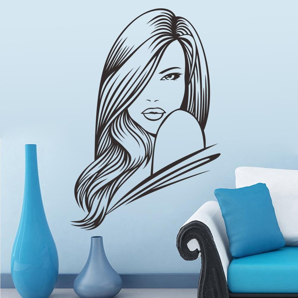 Nice Salon De La 3D #11: Nuevo 2017 57*84 Mujer Sexy Hair Salon Belleza Arte De La Pared Inicio  Pegatinas