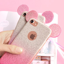 3D Minnie Mickey Mouse Ears Silicone Glitter Gradient Case for iPhone 5 5S 6 6S 7 8 Plus Phone Cover Bling case for iPhone X 8 7(China)