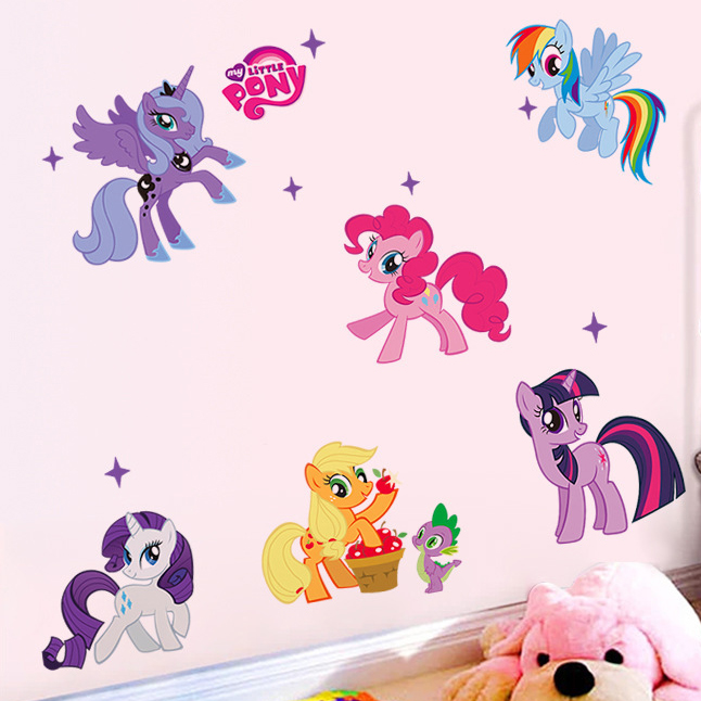 My Little Pony Wall Stickers For Kids Nursey Room Cartoon Frozen Fever Wall  Sticker Decoration Wall