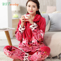 WSTNewLay Autumn Winter Warm Pyjamas Women Sleepwear Female Flannel Pajamas Sets Home Suits Sleep Lounge Pajamas