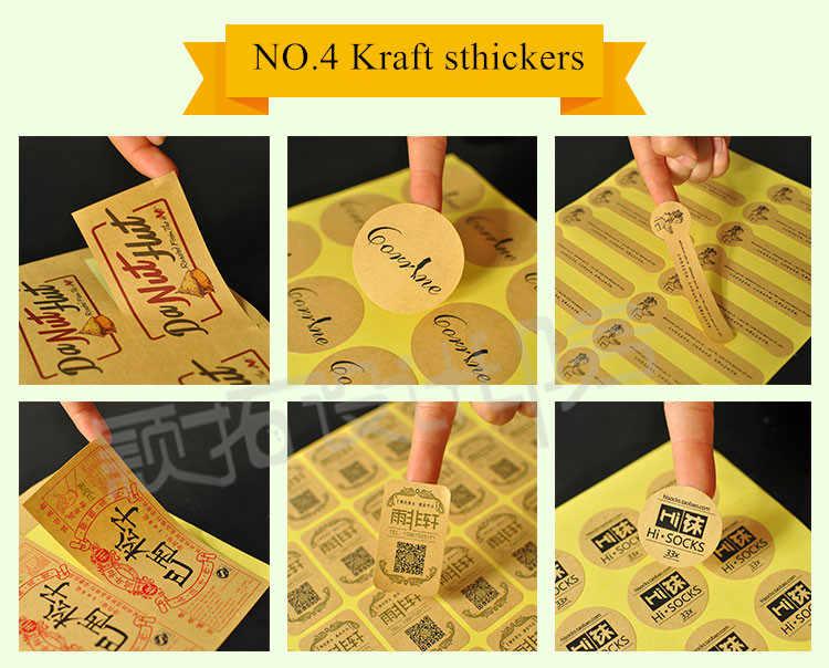 custom  logo brand  adhesive Label sticker / paper bags print warning slogan Self adhesive tapes with  PVC kraft  paper Materal