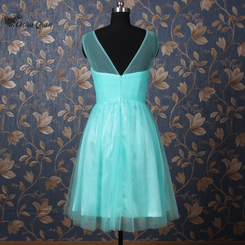 Green Short Bridesmaid Dresses Rhinestones Wedding Guest Dress Party ...