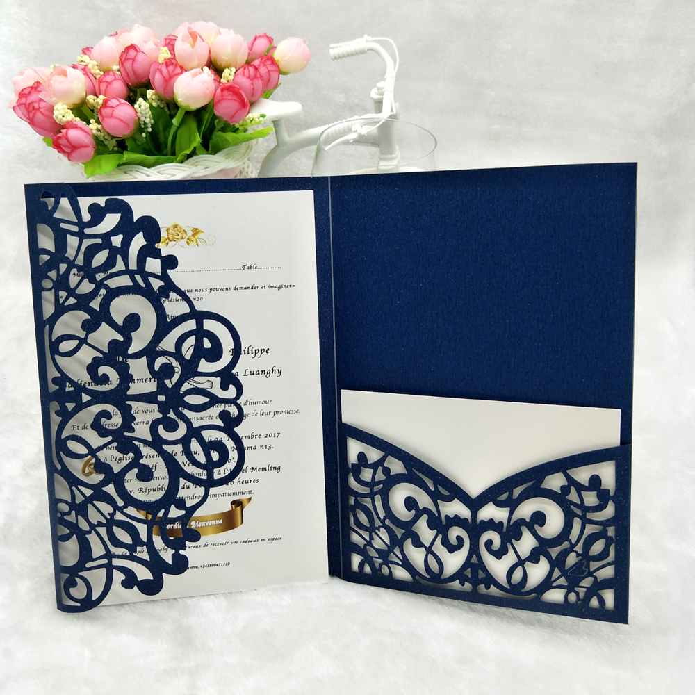 New European Free Printing Envelope Castle Laser Cut Invitation