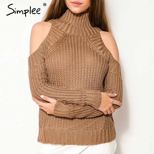 Simplee Sexy suéter del cuello alto del hombro mujeres tire de la manga que hace punto pullover jumper Casual tejido de punto suéter de la Navidad 2016