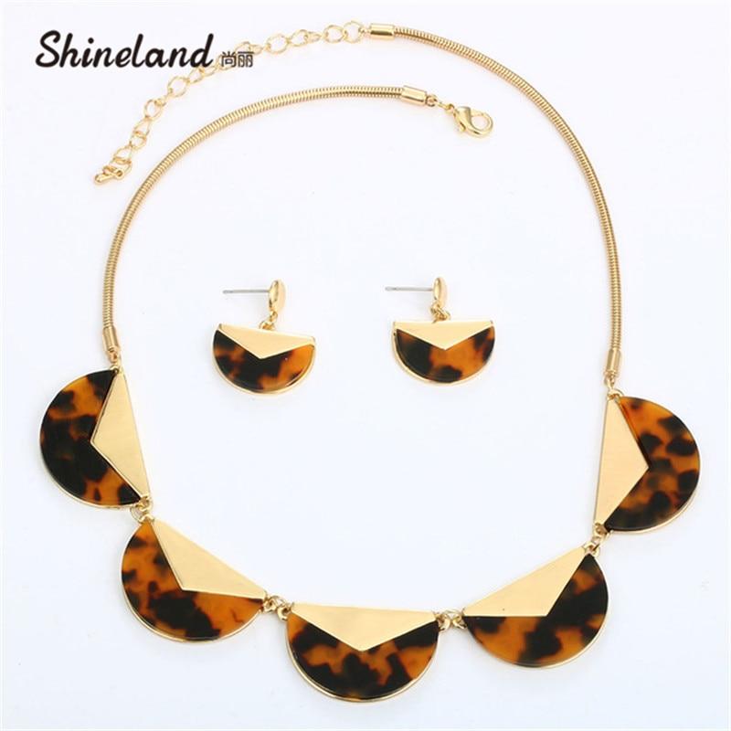 Shineland Fashion Jewelry Alloy Resin Snake Chain Necklace Pendant Leopard Print Half Round Statement Necklaces for Women Bijoux Ожерелье