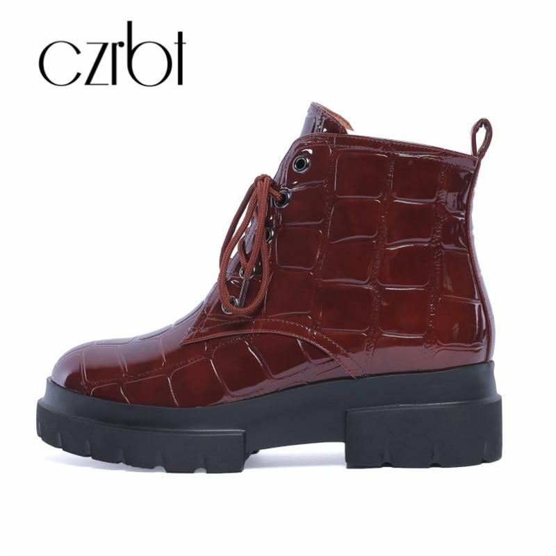 czrbt 2018 autumn winter new British style anti skidding Martin women boots short boots thick bottom warm and velvet shoes women