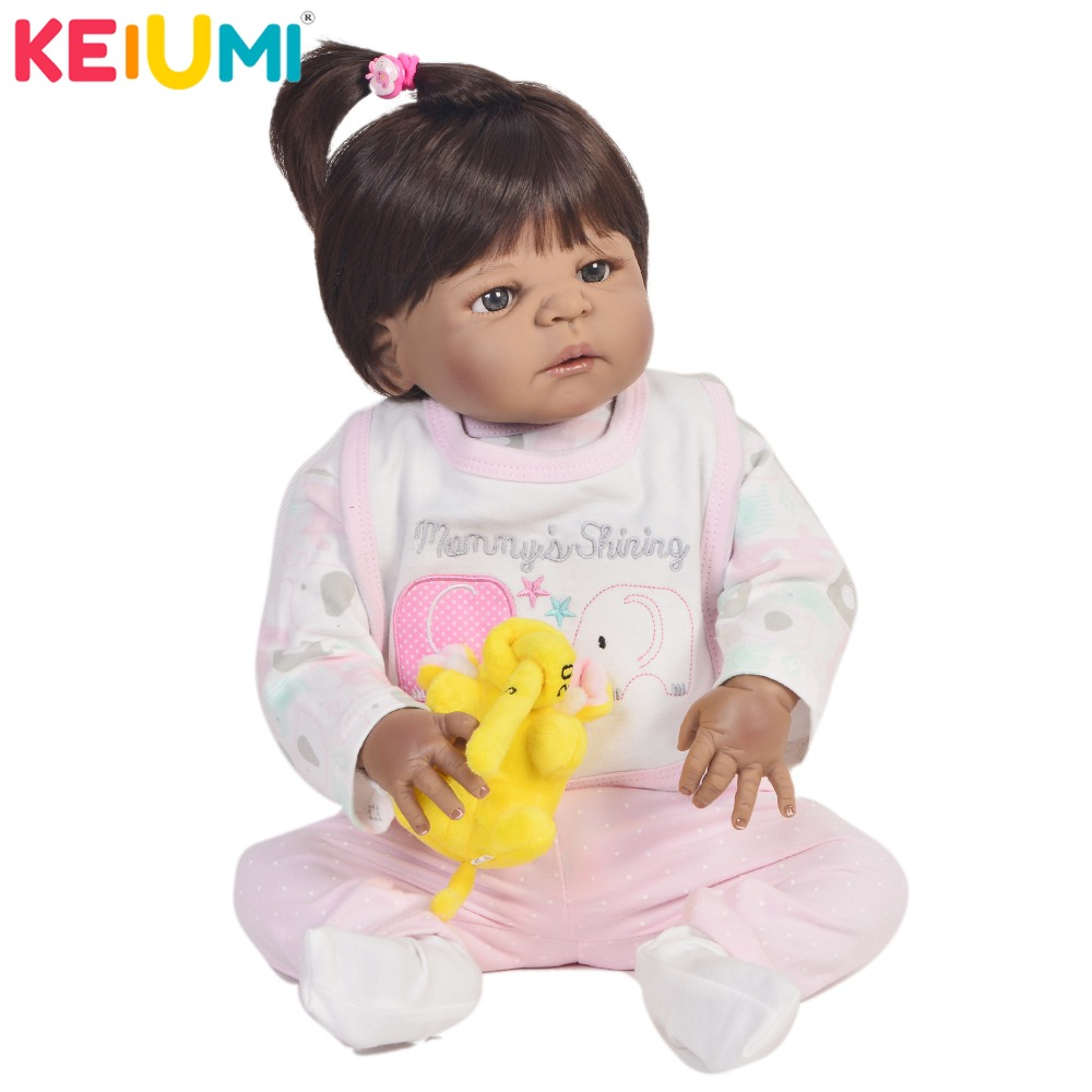 KEIUMI Lifelike 23 Inch Reborn Dolls 57 cm Full Silicone Realistic Newborn Girl Baby Doll Toy For Kids Christmas Gift Black SkinKEIUMI Lifelike 23 Inch Reborn Dolls 57 cm Full Silicone Realistic Newborn Girl Baby Doll Toy For Kids Christmas Gift Black Skin