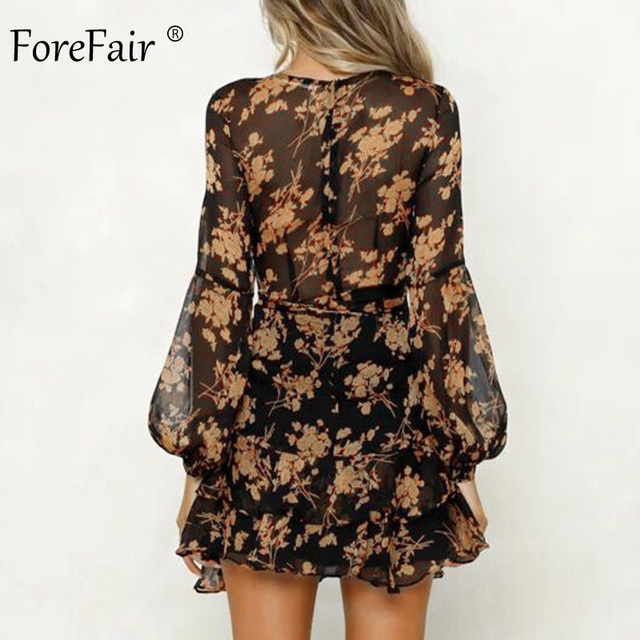 Forefair Transparent Floral Chiffon Dress Sexy Long Sleeve Elegant Boho A Line Vintage Sashes Tunic Ruffle Autumn Dress Women 4