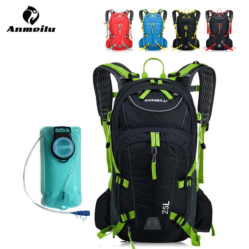 Anmeilu 25L Cycling Backpack Waterproof Bike Bicycle Travel Hydration Backpack Pack with 2L Water Bladder Bag and Rain Cover anmeilu 20l bicycle backpack with helmet net rain cover 2l bike water bag waterproof outdoor cycling hiking hydration backpack