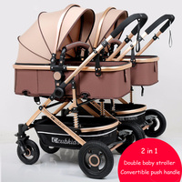 Double Baby Stroller Split Up Convertible Push Handle High Landscape Baby Stroller 2 In 1 Twin Stroller Pram Newborn Carriage
