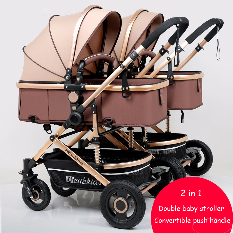 Double Baby Stroller Split Up Convertible Push Handle High Landscape Baby Stroller 2 In 1 Twin Stroller Pram Newborn CarriageDouble Baby Stroller Split Up Convertible Push Handle High Landscape Baby Stroller 2 In 1 Twin Stroller Pram Newborn Carriage
