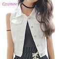 2016 Nova Moda das Mulheres Sem Mangas Blazer Colete Chalecos Mujer Estilo Streetwear Jeans Colete Feminino Fino Plus Size Denim Vest