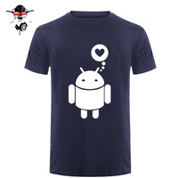 Love Funny Spoof Android Robot Printed Men S T Shirt T Shirt Men New Short Sleeve