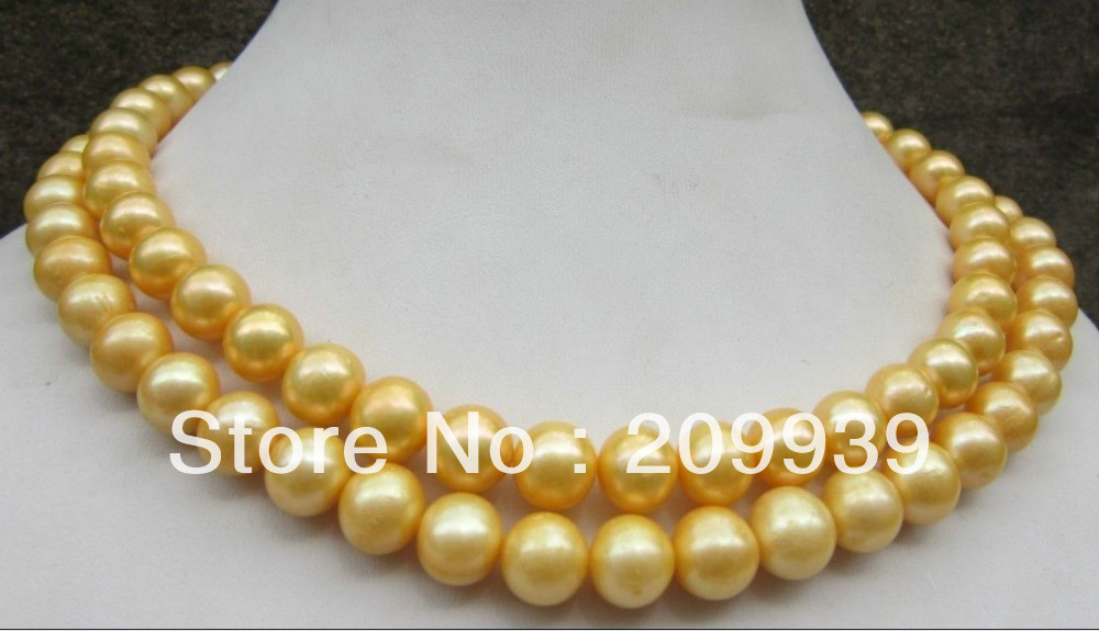 """HUGE 20/"""" AAA+10-11 MM SOUTH SEA GENUINE GOLD NATURAL PEARL NECKLACE 14K"""