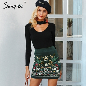 Image 3 - Simplee Vintage high waist skirts womens bottom Boho pencil corduroy winter skirt female Embroidery autumn sexy green mini skirt