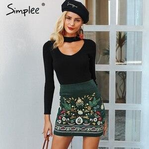 Image 3 - Simplee Vintage yüksek bel etekler bayan alt Boho kalem kadife kış etek kadın nakış sonbahar seksi yeşil mini etek
