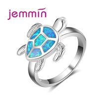 Cute Sea Turtle Shap AAA Blue Opal Ring For Women & Girl 925 Sterling Silver Silver Color Jewelry Ring Party Fine Jewelry(China)