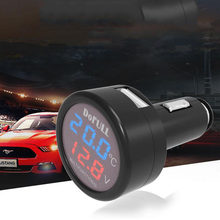 3 in 1 USB Direct Charge Car Voltmeter Thermometer DC 12V Digital Thermometer Battery Monitor Blue Red LED Dual Display(China)