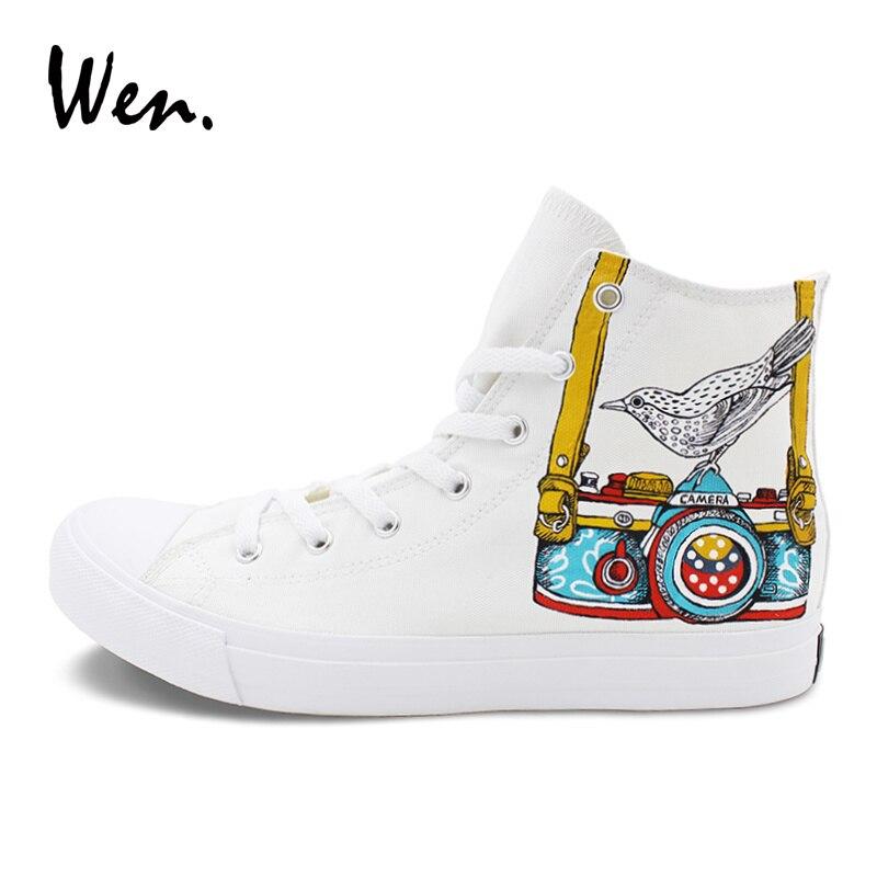 Wen White Skateboarding Shoes Original Design Hand Painted Digital Camera Bird Canvas Sneakers Men Women Sports Shoes
