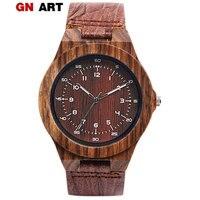 Relógio de madeira pulseira de couro masculino em pulseiras de relógio em relógios de quartzo|Relógios de quartzo| |  -