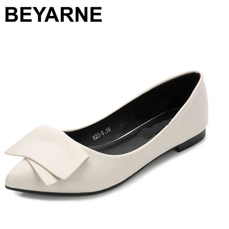 купить  BEYARNE 2017 Ladies Loafers Flats Square Heel Shoes Pointed Toe Oxford For Women Spring Brand Bow Platform Designer Shoes  онлайн