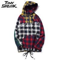 Colorful Patchwork Pullover Plaid Long Sleeve Hoodies Shirts Mens Hip Hop Printed Zipper Pocket Shirt Casual