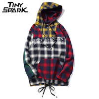 Colorful Patchwork Pullover Plaid Long Sleeve Hoodies Shirts Mens Hip Hop Printed Zipper Pocket Shirt Casual