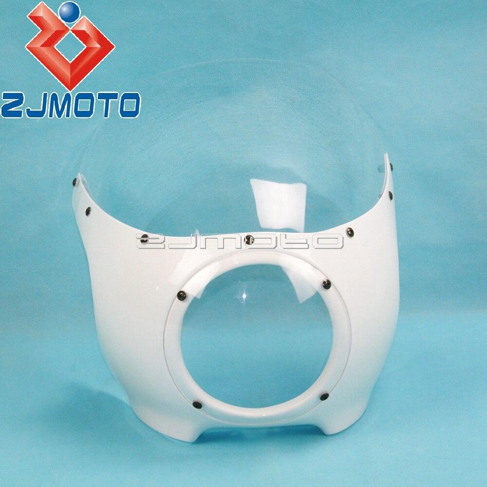 ZJMOTO 5 3 4 Headlight Fairing Motorcycle Front Head Light Fairing Universal For Harley Custom Chopper