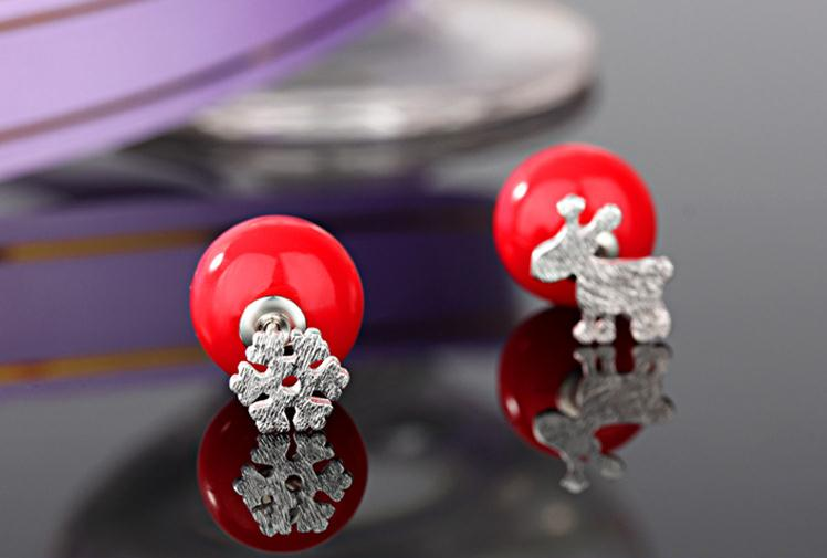 100 925 sterling silver Christmas elk deer snow flower red 12mm imitation pearl ladies stud earrings jewelry Anti allergy gift in Stud Earrings from Jewelry Accessories
