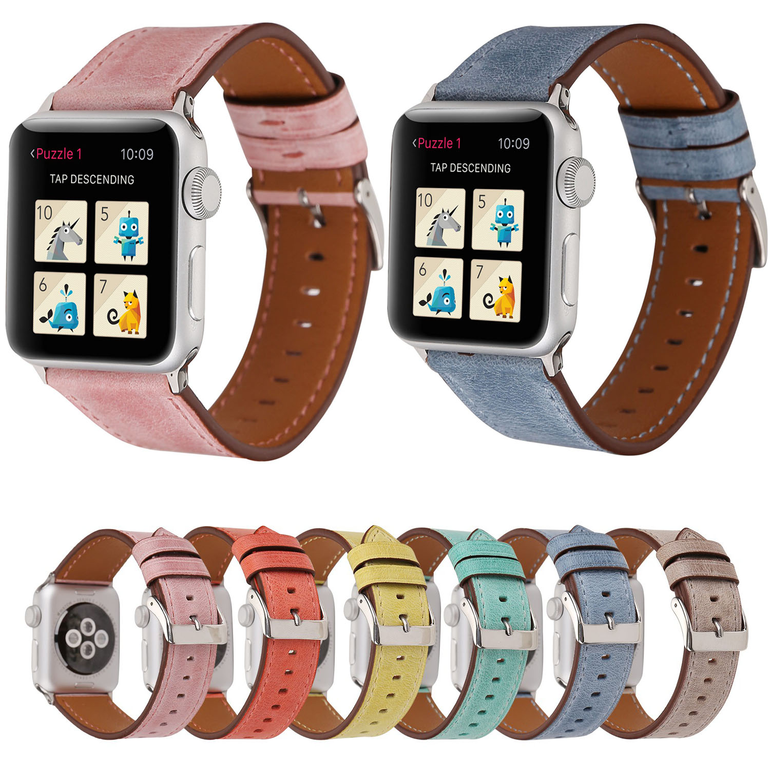 2018 New Colorful Leather Genuine Strap for Apple Watch Band Series 1/2/3 Wristband for iWatch 42mm 38mm Bracelet Accessory