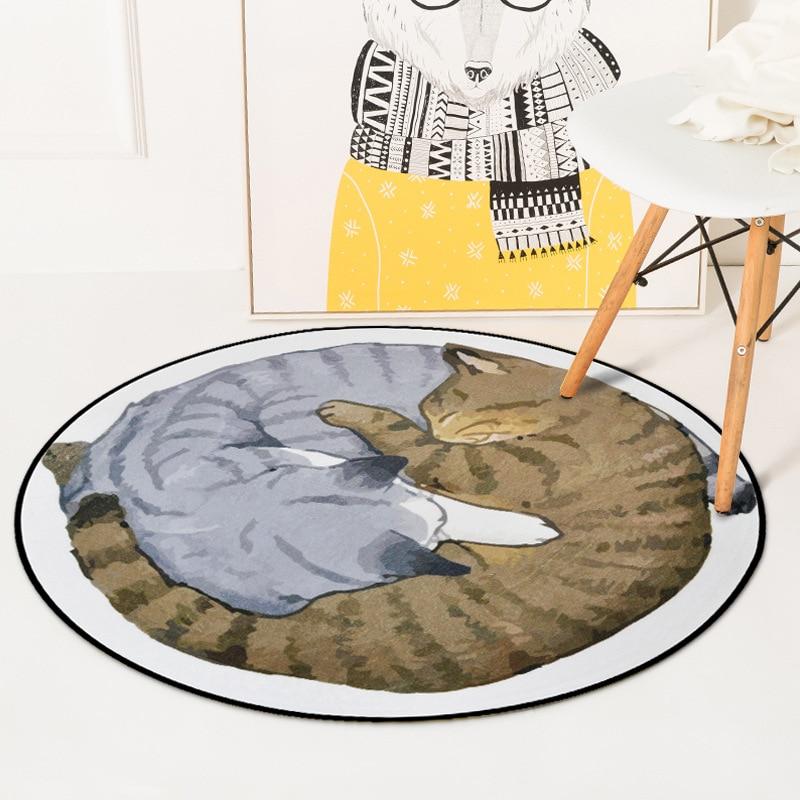 Japanese Gray Yellow Cartoon Lazy Cat Printed Tapete Soft Thicken Round Carpet Rugs Kids Living Room Bedroom Non-Slip Floor Mats