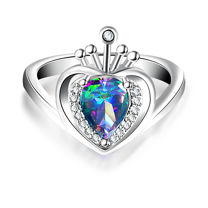 Colored crown ring Crown Shape Charming Sterling Dependable Synthetic Ring Women Can Dro ...