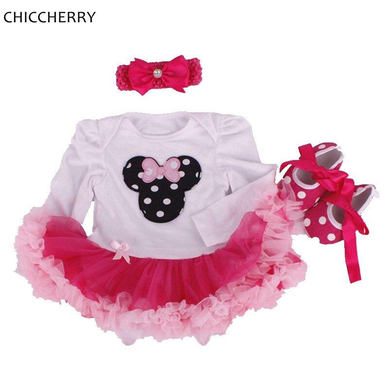 Minnie Applique Newborn Lace Romper Baby Tutu Sets 3pcs Headband Cribs Ruffle Girl Dress Roupa De Bebe Menina Infant-clothes