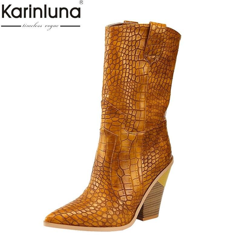 KarinLuna 2019 brand new 7 colors Ins big size 46 chunky heels Retro mid calf boots