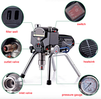 Professional Airless Electric Putty Paint Sprayer With Spray Gun Heavy Load Painting Equipment With Extend Pole