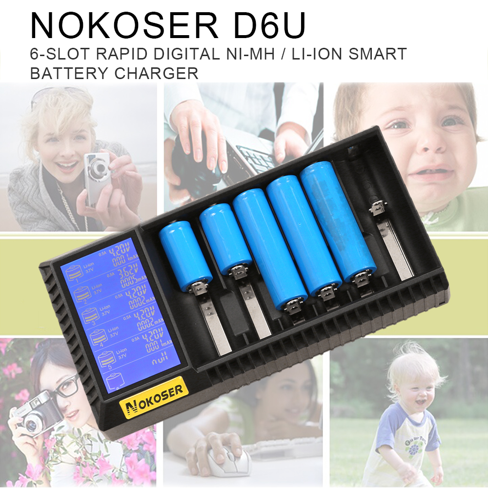 NOKOSER D6U 6 Slot LCD Intelligent Li-ion/LiFePO4 Battery Charger for Rechargeable Ni-MH/Ni-Cd AAA/SC 26650/18650 Batteries