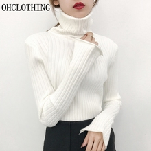 OHALOTHING Turtleneck jacket slim girls long thick long sleeved Pullover pile neck knit shirt in autumn and winter.